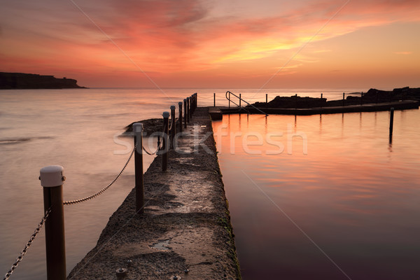 Oceano piscina madrugada nascer do sol Austrália ver Foto stock © lovleah