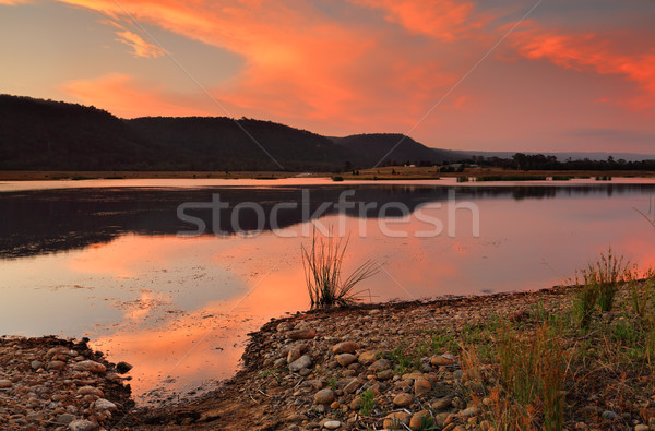 Sunset over Boorooberongal Lake Penrith Stock photo © lovleah