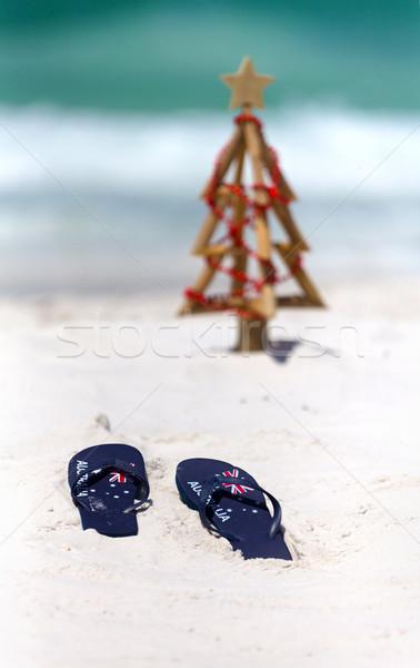 Australia bandiera bianco spiaggia di sabbia Natale Foto d'archivio © lovleah