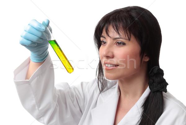 Klinikai tudományos női tudós vegyész kémcső Stock fotó © lovleah