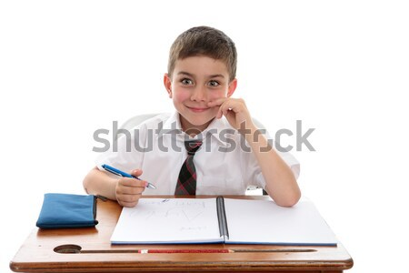 School boy student at desk Stock photo © lovleah
