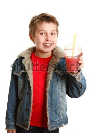 Kind eten slangen banketbakkerij jongen vloer Stockfoto © lovleah