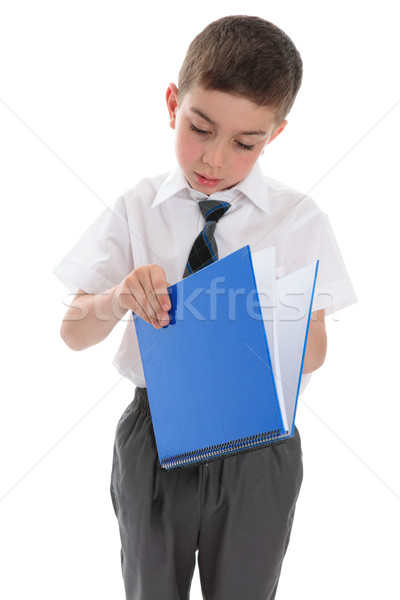 школьник синий книга молодые кольца рабочая тетрадь Сток-фото © lovleah