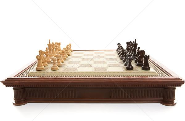 Satranç tahtası oynama parçalar ahşap satranç oynamak Stok fotoğraf © lovleah