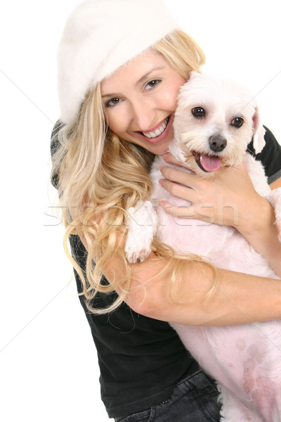 Happy girl cuddling cute dog Stock photo © lovleah