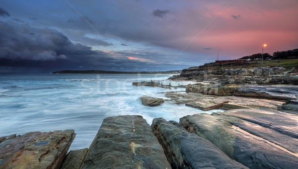 Mahon Pool and Maroubra with incoming storm Stock photo © lovleah
