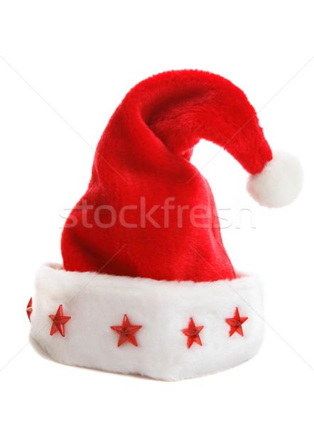 Karácsony mikulás kalap piros csillagok peremszegély Stock fotó © lovleah