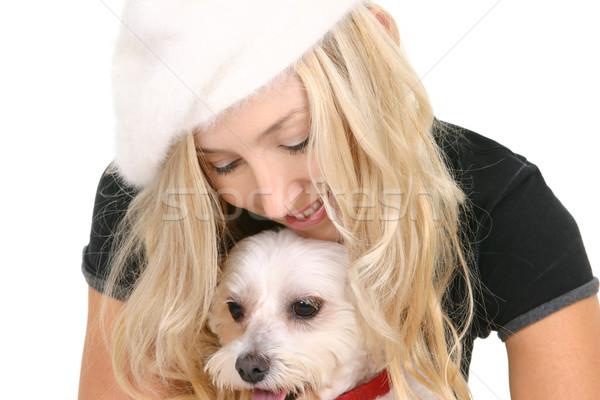Nő kutya kicsi díszállat jókedv személy Stock fotó © lovleah