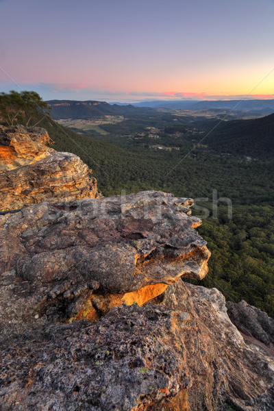 Sunset over Megalong Valley Blue Mountains Stock photo © lovleah
