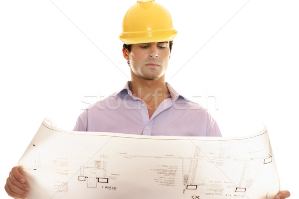 Construction blueprint and plan reading Stock photo © lovleah