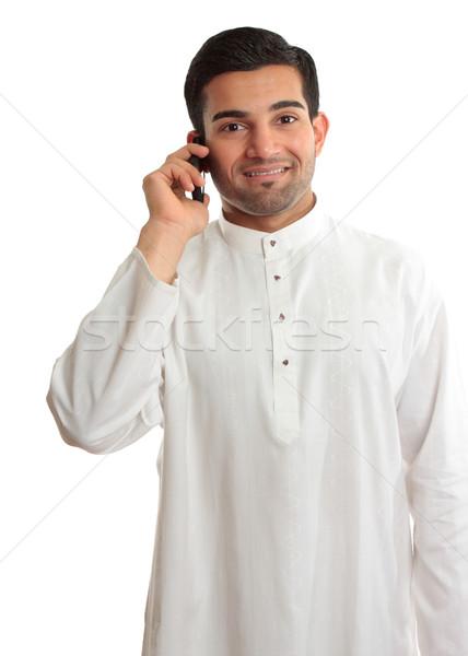 Smiling man using phone Stock photo © lovleah