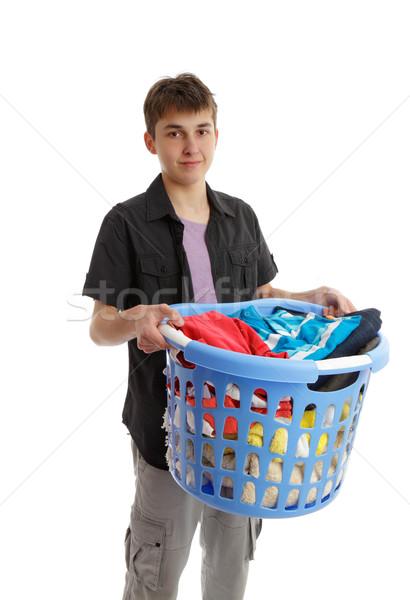 Adolescente cesta trabalhos domésticos menino completo Foto stock © lovleah