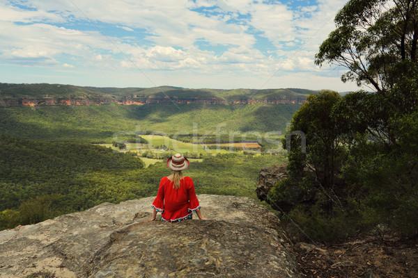 Détente belle montagne vallée femme bleu Photo stock © lovleah