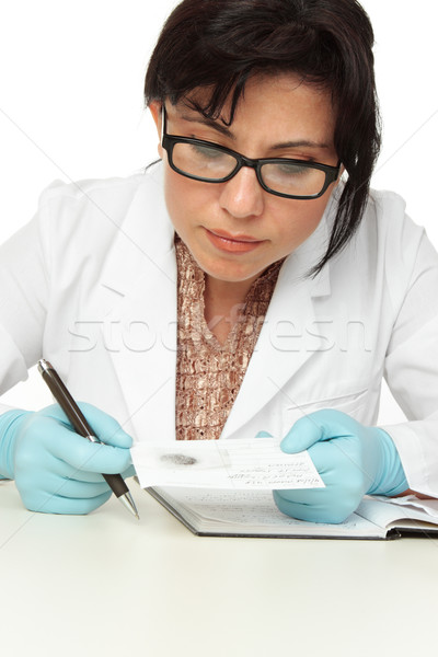 Forensic Scientist with fingerprint Stock photo © lovleah