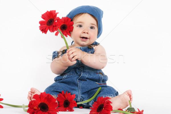 Stockfoto: Gelukkig · voorjaar · baby · denim