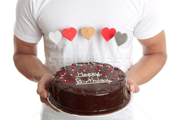 Boldog torta férfi csokoládé születésnap fehér Stock fotó © lovleah