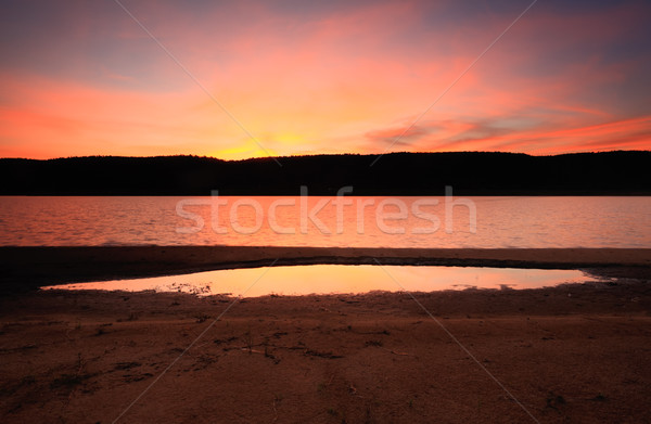 Anochecer luz lago colores puesta de sol Foto stock © lovleah