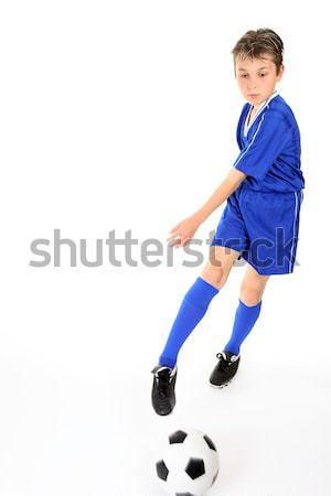 Gyermek rúg labda futballabda mozgás láb Stock fotó © lovleah