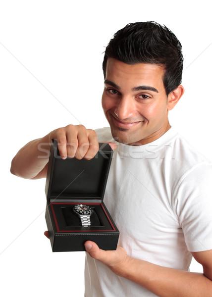 Foto stock: Homem · vendedor · publicidade · amigável · ver