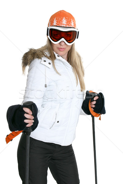 Female Skier with skies Stock photo © lovleah