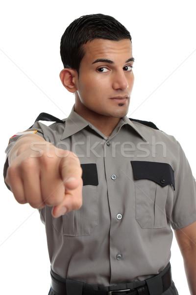 Biztonság börtön tiszt mutat ujj biztonsági őr Stock fotó © lovleah