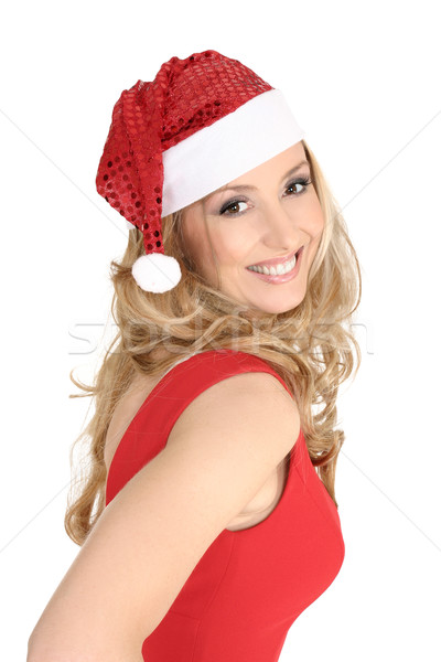 Smiling Christmas Girl in Santa hat Stock photo © lovleah