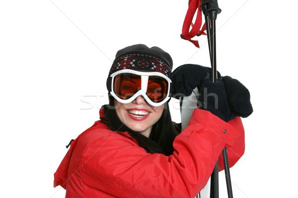 Mooie glimlachend vrouwelijke skiër warm Stockfoto © lovleah
