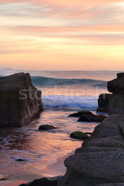 Strand zonsopgang mooie kleuren wind hemel Stockfoto © lovleah