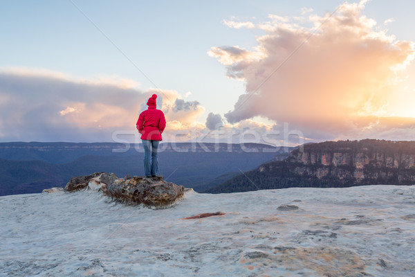 Female enjoying magnificent views Blue Mountains Australia Stock photo © lovleah