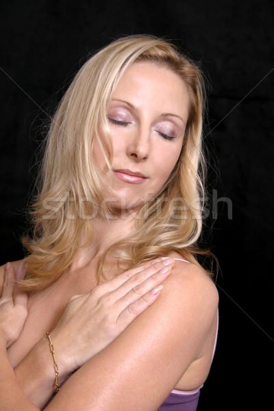 Mulher relaxar ioga menina feminino pessoa Foto stock © lovleah