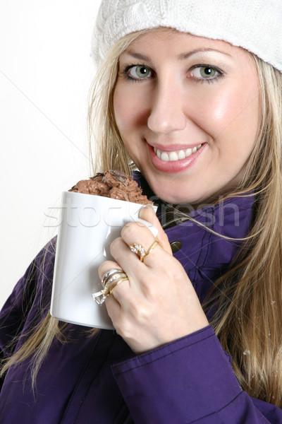 Nő csokoládé ital meleg tél ruházat Stock fotó © lovleah