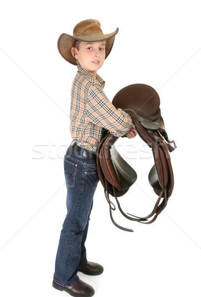 Kind paard zadel jonge zijaanzicht Stockfoto © lovleah
