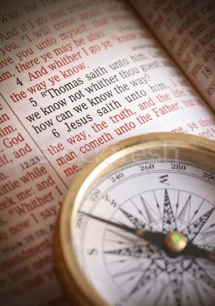 Photo stock: Besoin · direction · jesus · façon · boussole · bible
