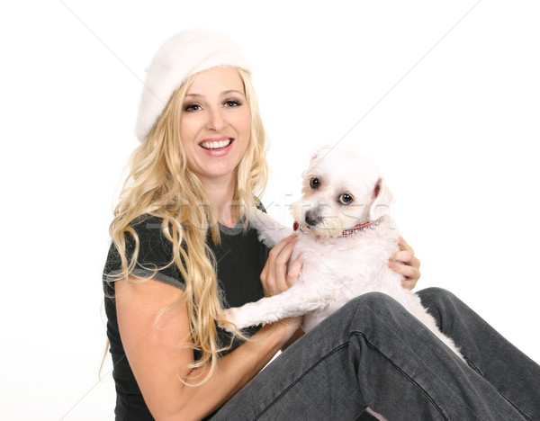 Female playing with a small dog Stock photo © lovleah