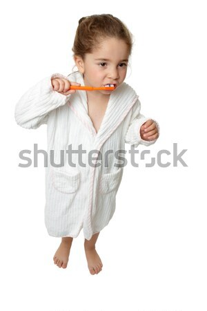 Dental Hygiene - Little young girl brushing teeth with toothbrus Stock photo © lovleah