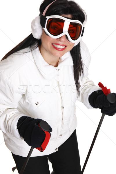 Kadın kayakçı beyaz siyah Kayak pantolon Stok fotoğraf © lovleah