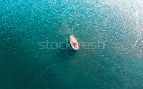 Yate agua vista hermosa azul mar Foto stock © lovleah