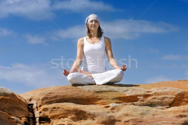 Jóga meditáció Föld mantra béke nő Stock fotó © lovleah