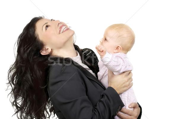 Mooie gelukkig moeder aanbiddelijk baby werken Stockfoto © lovleah