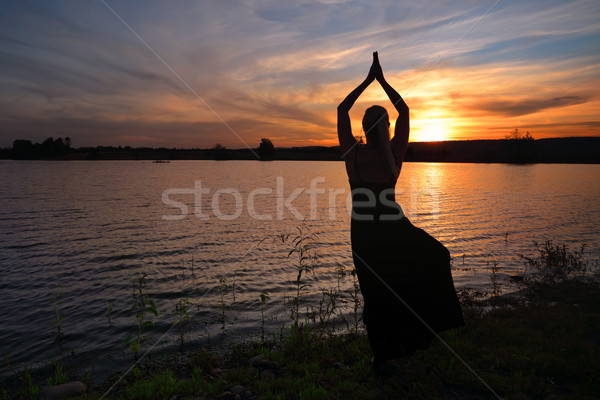 Sunset meditation Tree Pose Stock photo © lovleah