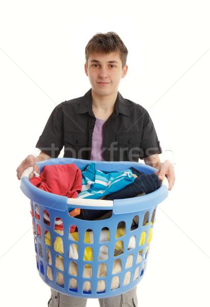Adolescente cestino di lavanderia blu ragazzo vestiti Foto d'archivio © lovleah