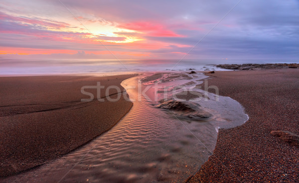 Foto stock: Enseada · praia · nascer · do · sol · névoa · longa · exposição · hora