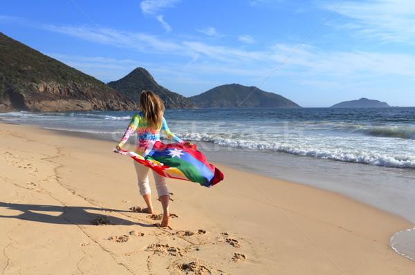 女性 ビーチ オーストラリア人 フラグ 愛 平等 ストックフォト © lovleah