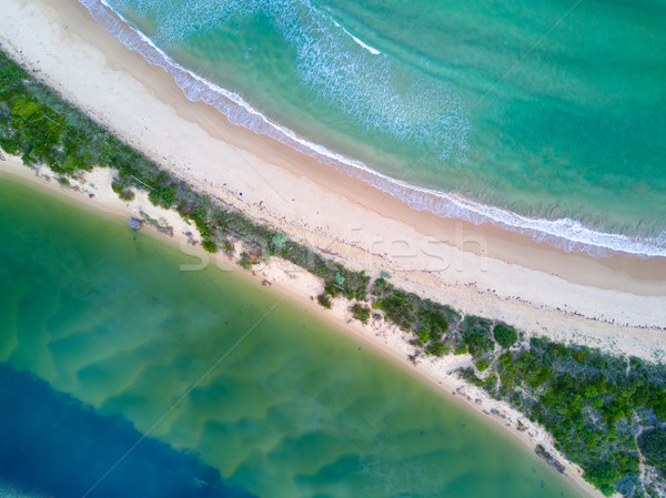 Where the river hugs the ocean scenic aerial view Stock photo © lovleah