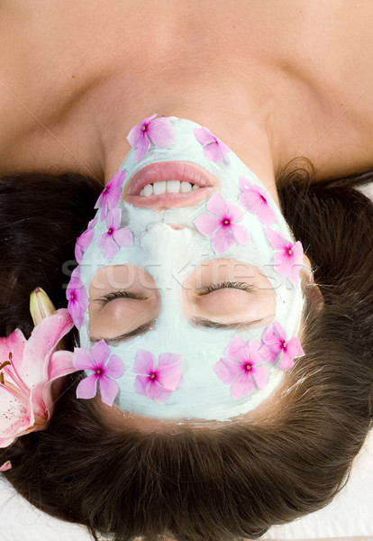 Beautiful woman face mask spa radiance Stock photo © lovleah