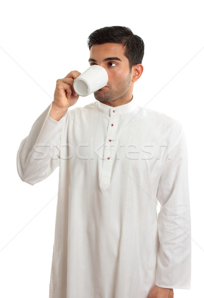 Arab man drinking coffee Stock photo © lovleah