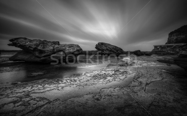 Tempestuous Coalcliff Seascape in black and white Stock photo © lovleah