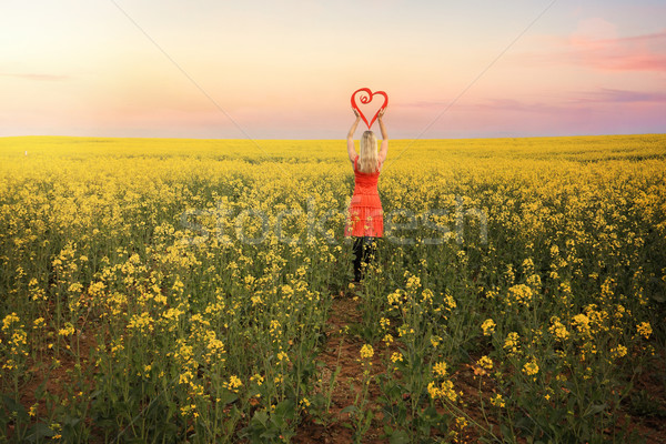 Woman in Canola Fields in Young Country NSW Stock photo © lovleah