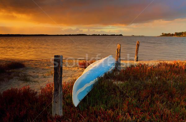 Piccolo blu canoa kayak sabbia shore Foto d'archivio © lovleah