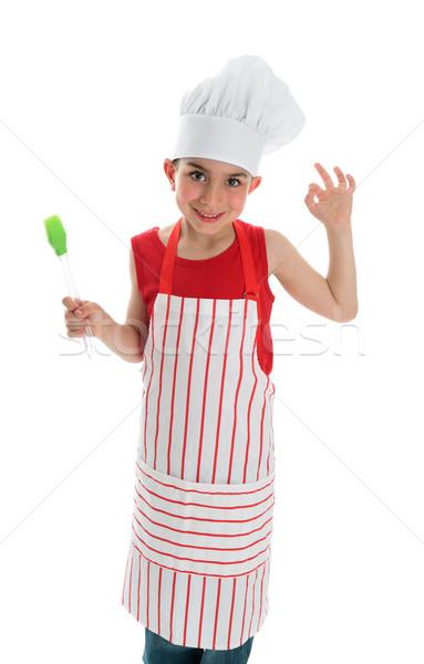 Kicsi szakács oké kézjel fiatal mosolyog Stock fotó © lovleah